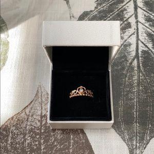 Rose Gold Princess Tiara Crown Ring - Pandora